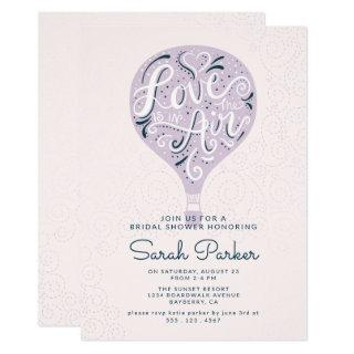 Hand Lettered Purple Hot Air Balloon Bridal Shower Invitations