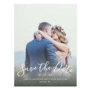 Hand Lettered Script Photo Save the Date Postcard