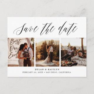Hand Lettered Three Photos Save the Date Postcard