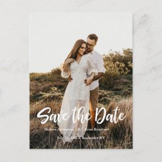 Hand Lettering photo Save the Date Announcement Postcard