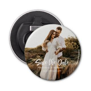 Hand Lettering photo Save the Date Bottle Opener