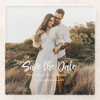 Hand Lettering photo Save the Date Glass Coaster