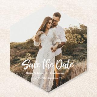 Hand Lettering photo Save the Date Paper Coaster