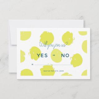 Hand Painted Lime Green Polka Dots Wedding RSVP Card