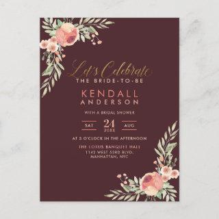 Hand Painted Rose Watercolor Floral Bridal Shower Invitation Postcard