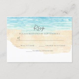 Hand-Painted Watercolor Beach Wedding RSVP