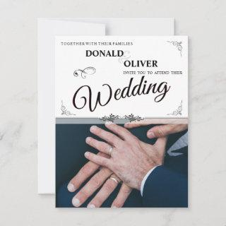 Hands Of A Gay Wedding Couple With Rings