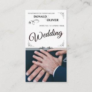 Hands Of A Gay Wedding Couple With Rings Enclosure Card