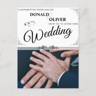 Hands Of A Gay Wedding Couple With Rings V 2.0 Announcement Postcard