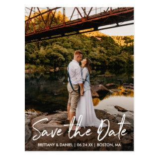 Handwritten Script Couple Photo Save the Date Postcard