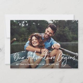 Handwritten Script Our Adventure Begins Photo Save The Date