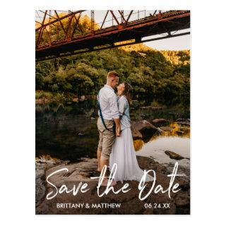 Handwritten Script Save the Date Couple Photo Postcard