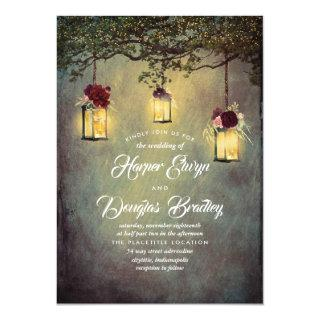 Hanging Lanterns Burgundy Red Rustic Wedding Invitation