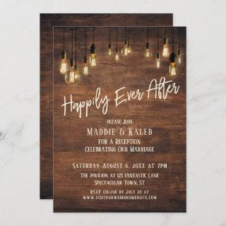 Happily Ever After Brown Wood Wall Edison Lights