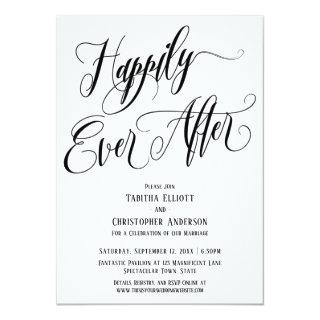 Happily Ever After Elaborate Script Black White Invitation