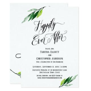 Happily Ever After Elaborate Script Greenery Invitation