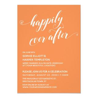 Happily Ever After Hearts Orange Cream Reception Invitations