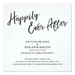 Happily Ever After Modern Script Wedding Reception Invitations