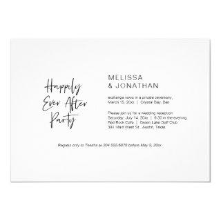 Happily Ever After Party, Black, Elopement Invitations