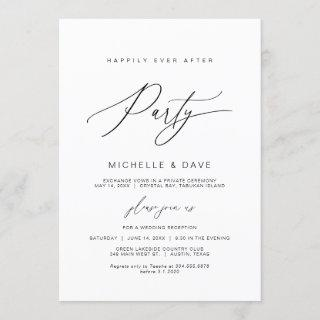 Happily Ever After Party, Black, Wedding Elopement Invitation