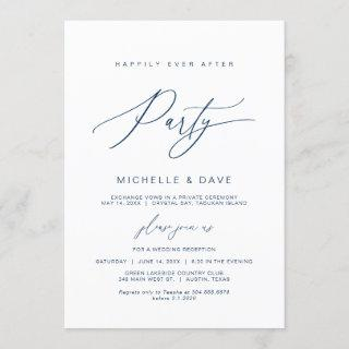 Happily Ever After Party, Navy Blue font Elopement Invitations
