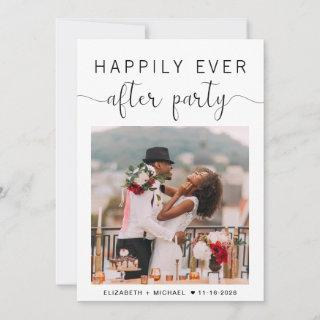 Happily Ever After Party Reception Photo Wedding Announcement