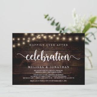 Happily Ever After Party, String Light, Elopement Invitations