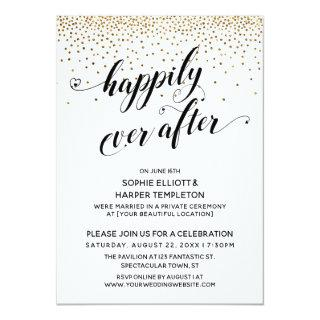 Happily Ever After Reception Only Gold Confetti Invitations