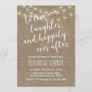 Happily Ever After Rustic Wedding Rehearsal Dinner Invitation