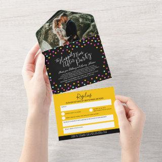 Happily ever after wedding party photo confetti all in one
