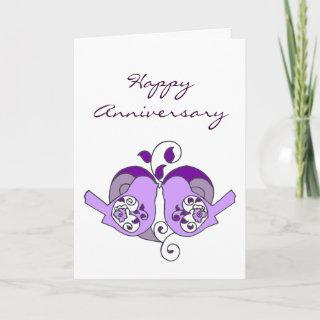Happy Anniversary Love Birds with Floral Heart Card