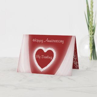 Happy Anniversary My Darling Romantic Red Heart Card