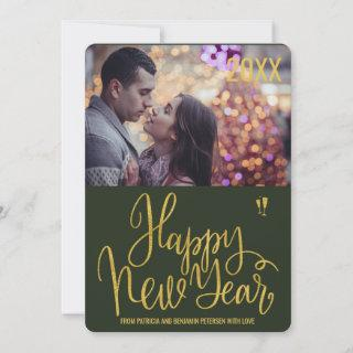 Happy New Year newly wed photo greeting Holiday Card