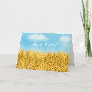 Happy SHAVUOT Gold Wheat Field Watercolor Greeting Card