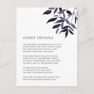 Harvest Plum Wedding Guest Details Card