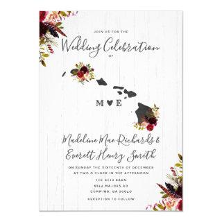 Hawaii State Chic Destination Floral Wedding Invitation