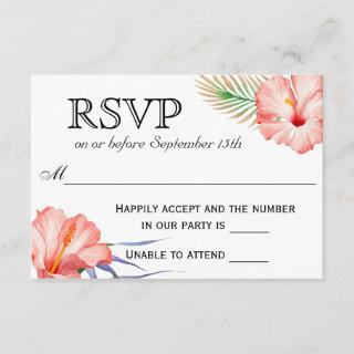 Hawaiian Luau Tropical Floral Wedding RSVP