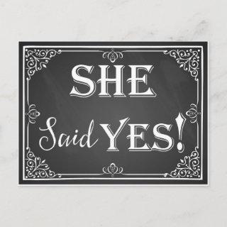 """He asked she said """"Yes"""" engagement card photo prop"""