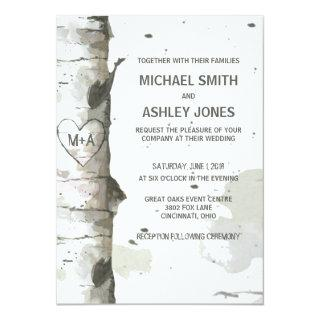 Heart In Tree with Initials Wedding Invitations