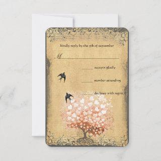 Heart Leaf Coral Tree Love Bird Wedding RSVP