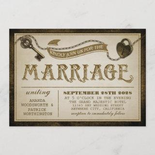 Heart Lock and Skeleton Key Wedding Invitations