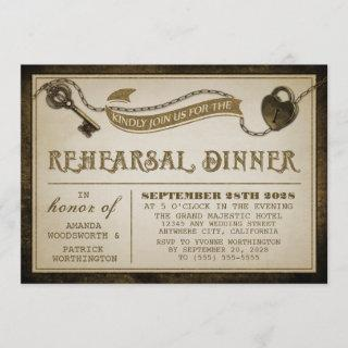 Heart Lock Skeleton Key Rehearsal Dinner Invites