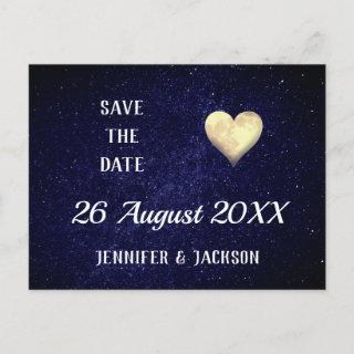 Heart Moon Night Sky Save the Date Invitations Postcard