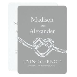 Heart tie the knot wedding grey white invitation