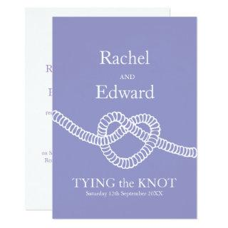 Heart tie the knot wedding purple white Invitations