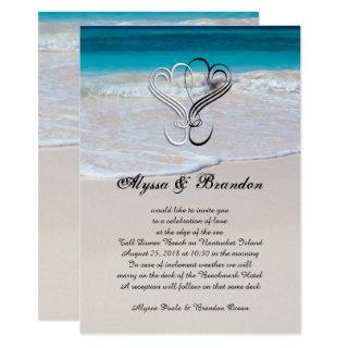 Hearts and Ocean Scene Custom Wedding Invitations