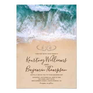 Hearts in Shore Beach Wedding Invitations