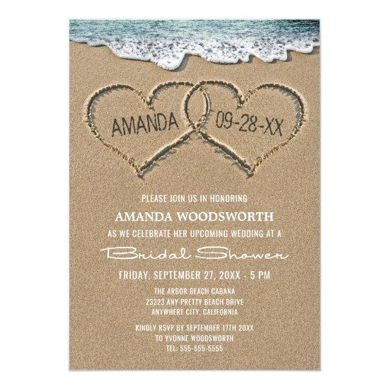 Hearts in the Sand Beach Bridal Shower Invitations