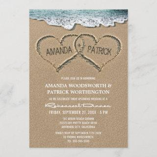 Hearts in the Sand Rehearsal Dinner Invitations