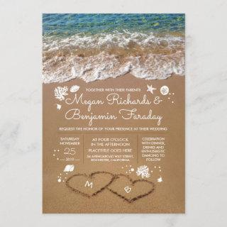 Hearts in the Sand Summer Beach Wedding Invitations